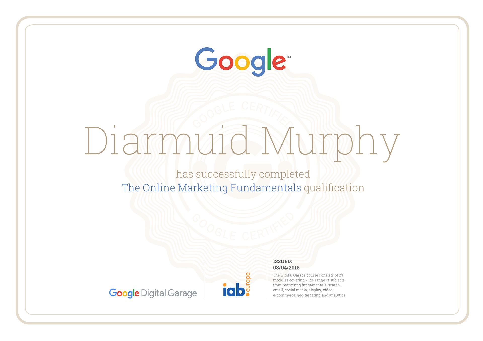 Google Certification Diarmuid Murphy