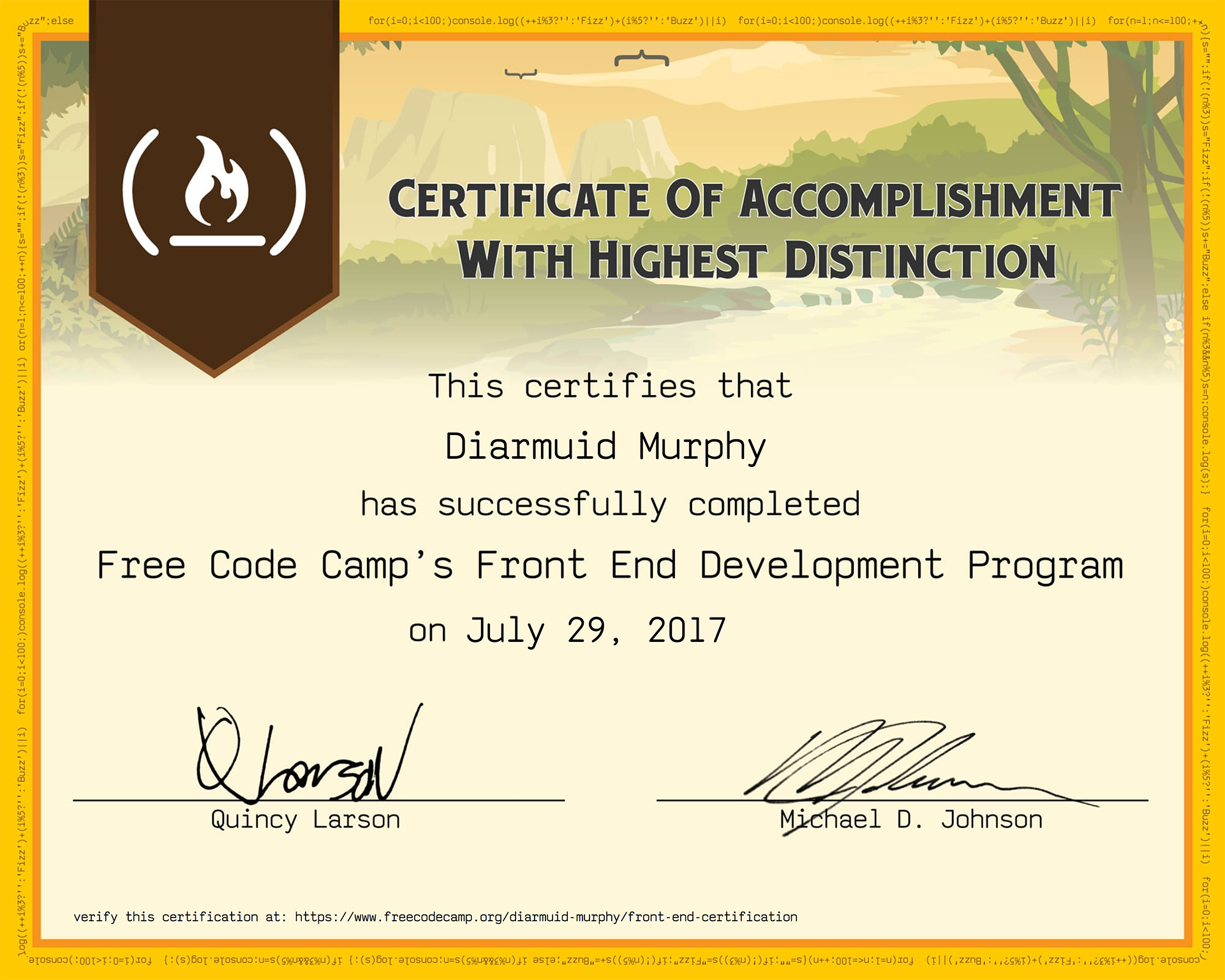 Freecodecamp Front End Development Certification Diarmuid Murphy